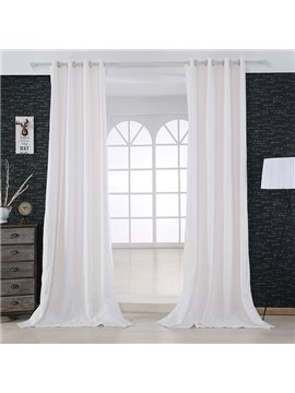 Modern Minimalist Pure Colored White Grommet Top Curtain