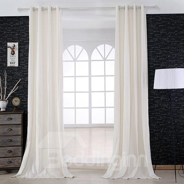 Modern Minimalist Ramie Bamboo White Grommet Top Curtain