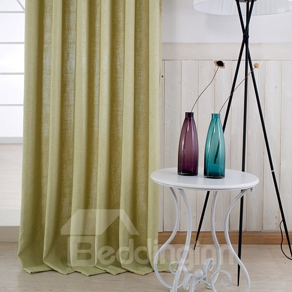 Pure Colored Super Soft Light Yellow Custom Grommet Top Curtain
