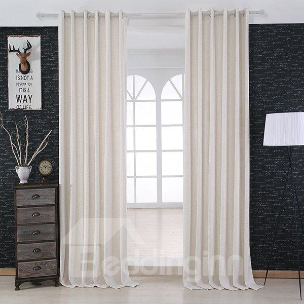 Modern Minimalist White Grommet Top Curtain