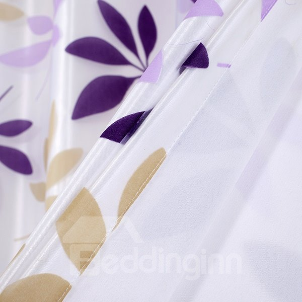 Purple Flower Printing Sheer With the Lining Grommet Top Curtain