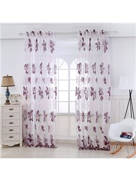 Purple Flowers Printing Custom Sheer Curtain