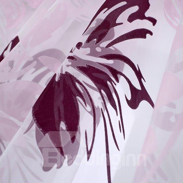 Purple Flowers Printing Custom Sheer Curtain