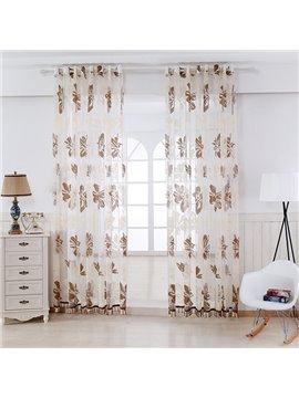 Coffee Flowers Printing Custom Sheer Curtain