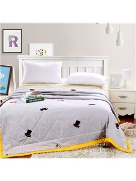 Super Simple Mustache Design Washable Polyester Quilt
