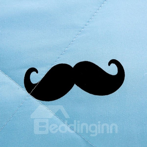 Adorable Chic Mustache Design Blue and Pink Polyester Quilt