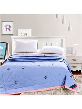 Beautiful Black Anchors Reactive Printing Polyester Quilt