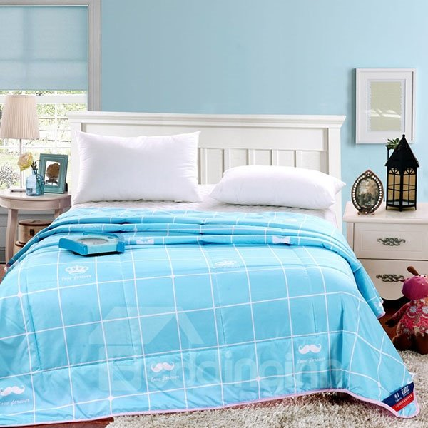 Concise White Mustache and Plaid Sky Blue Polyester Quilt
