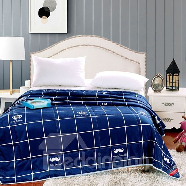 Modern White Mustache and Plaid Dark Blue Polyester Quilt