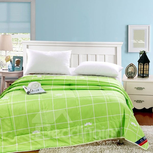 Refreshing Concise Plaid Reactive Printing Green Polyester Quilt