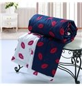 Stylish Red Lips Design Purple Background Polyester Quilt