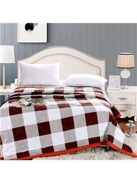 Fabulous Simple Plaid Reactive Printing Polyester Quilt