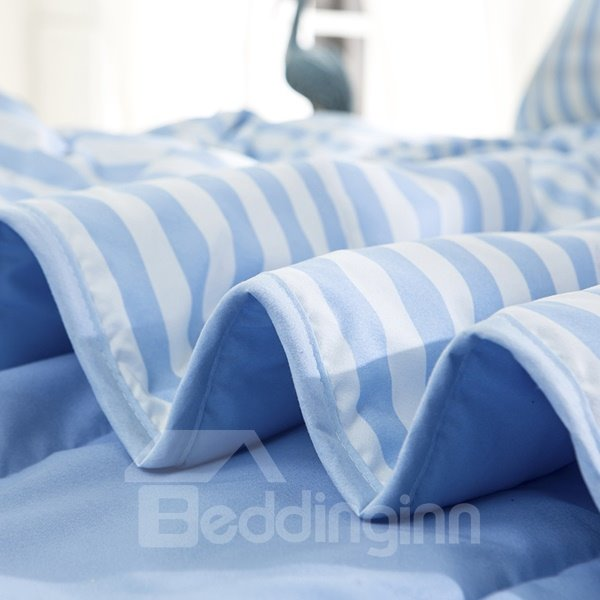 Simple White and Blue Stripes Polyester Summer Quilt