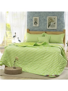 Refreshing White Stripes Light Green Polyester Summer Quilt