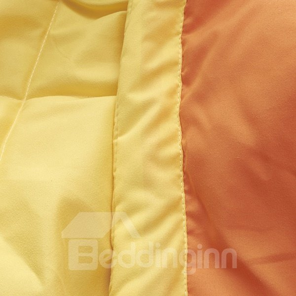 Bright Orange Reactive Printing Smooth Polyester Quilt