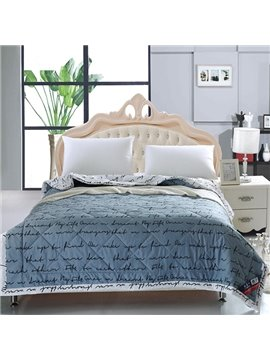 Delicate Popular Letter Print Grey Polyester Quilt