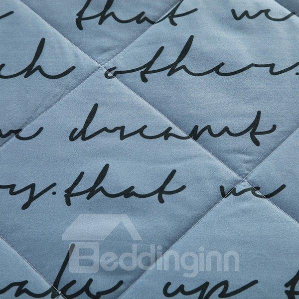 Delicate Popular Letter Print Grey Polyester Quilt