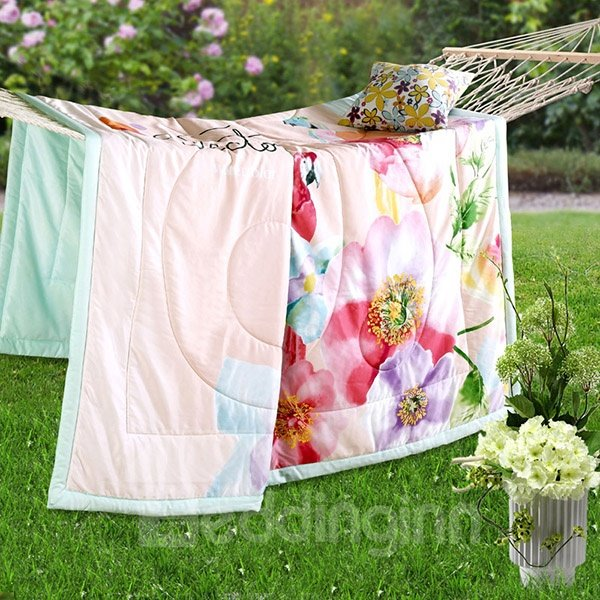 Adorable Parrot and Flowers Pink Tencel Quilt