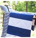 European Style Blue and White Vertical Stripe Polyester Quilt