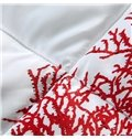 Beautiful Red Coral Seaweed Print Comfortable Quilt