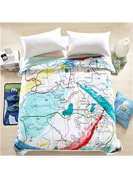 Unique Colorful World Map Design Soft Quilt