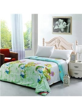 Lightweight Vintage Retro Flowers Print Green Quilt
