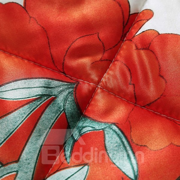 Stylish Beautiful Flowers Reactive Printing Summer Quilt