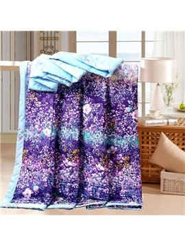 Romantic Dreamy Lavender Flower Print Cotton Quilt