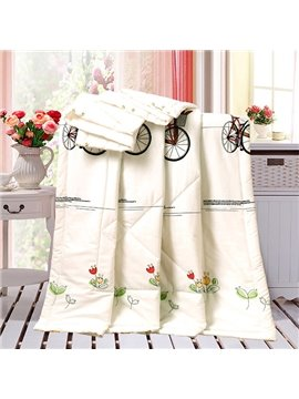 Soft Vintage Bicycle Reactive Printing Cotton Quilt