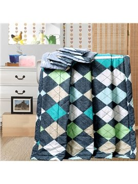 Fabulous Neutral Colorful Rhombus Reactive Printing Cotton Quilt