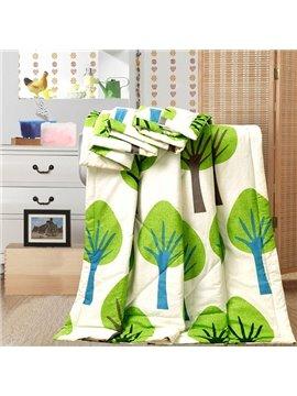 Unique Green Tree Design Cotton Summer Quilt