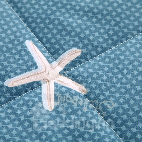 Modern Starfish and Shell Design Navy Blue Cotton Quilt