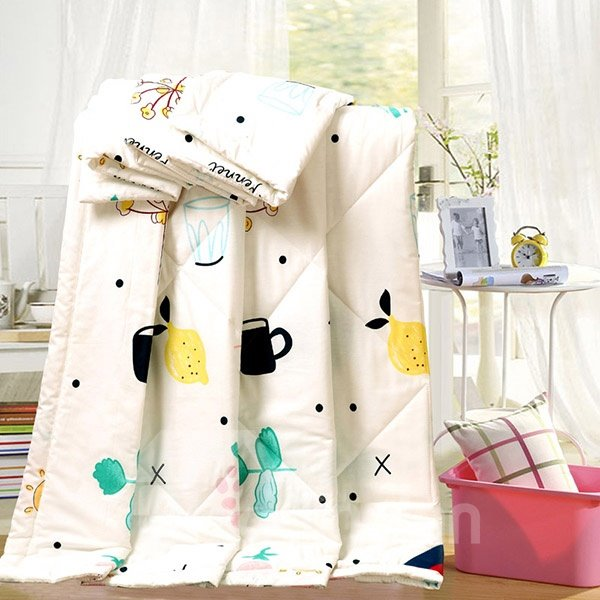 Adorable Lemon Fruit and Cups Print Cotton Quilt
