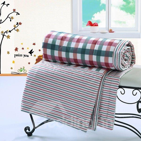 Western Style Neutral Plaid Comfortable Cotton Quilt