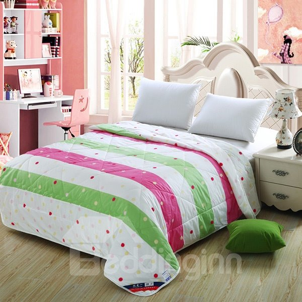 Concise Candy Color Stripe Pure Cotton Quilt