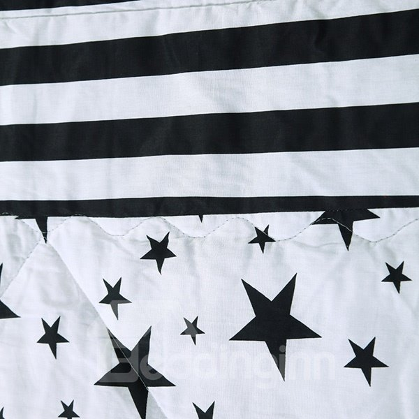 Popular Black Stars & Stripes White Cotton Quilt