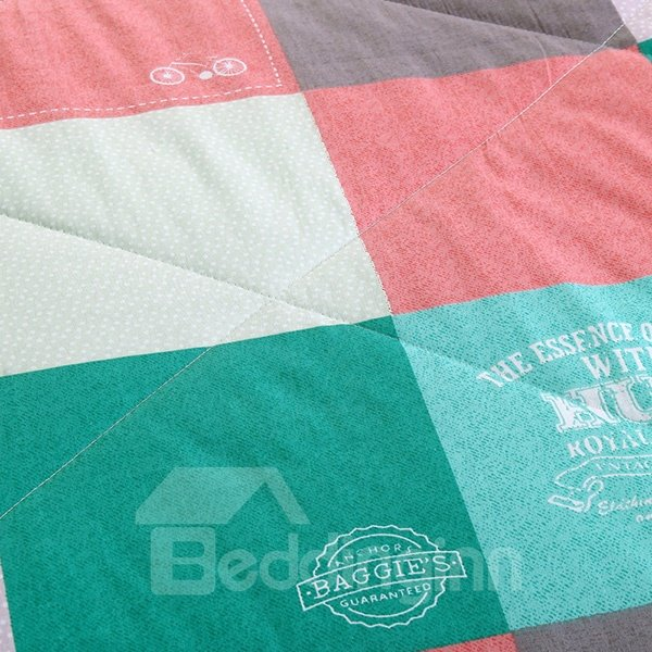 Fresh Style Colorful Checker Design 100% Cotton Quilt