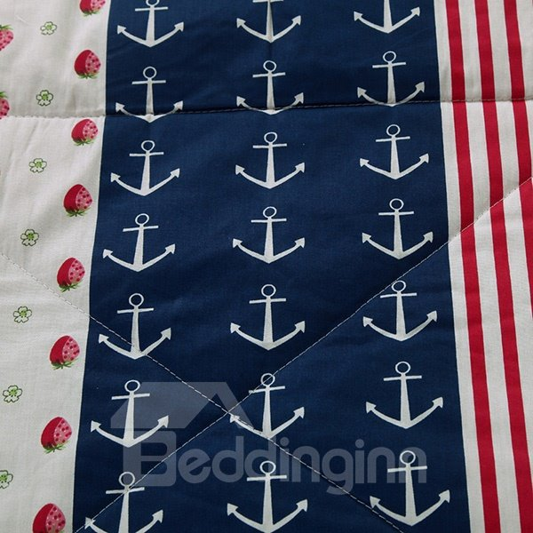 Unique Strawberries and Anchors Print 100% Cotton Quilt