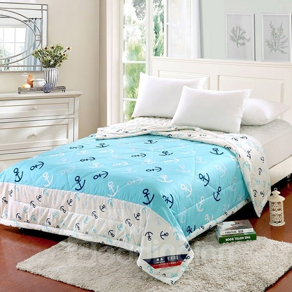 Durable Nautical Theme Blue and White Cotton Summer Quilt