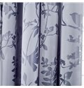 Burnt-Out Printing Purple Flower and Bird Pattern Grommet Top Curtain