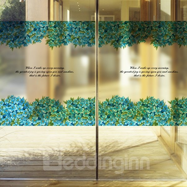 Beautiful Blue Flowers and letters Pattern Glass Wall Sticker