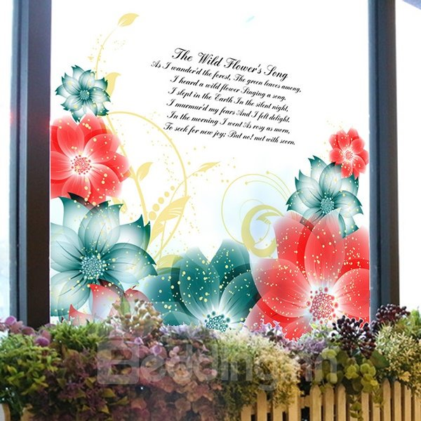 Beautiful Flowers and Letters Pattern Glass Wall Sticker