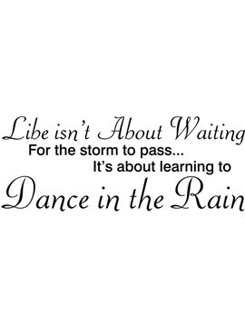 Simple Dance in the Rain Letters Pattern Glass Wall Sticker