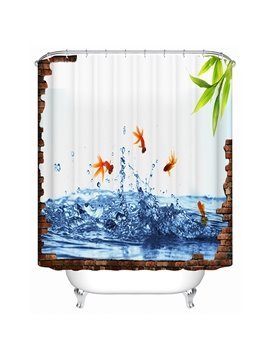 Goldfishes Jumping Up Print 3D Bathroom Shower Curtain