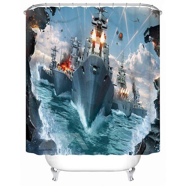 Naval Fleet at the War Print 3D Bathroom Shower Curtain