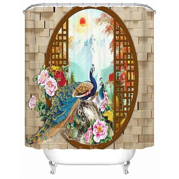 The Magnificent Peacock Print 3D Bathroom Shower Curtain
