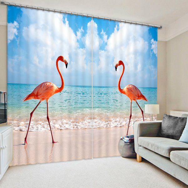 Couple Flamingos Walking on the Beach Printing 3D Curtain
