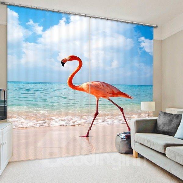 A Beautiful Flamingo Walking on the Beach Print 3D Blackout Curtain