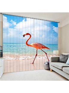 A Beautiful Flamingo Walking on the Beach Print 3D Blackout Curtain
