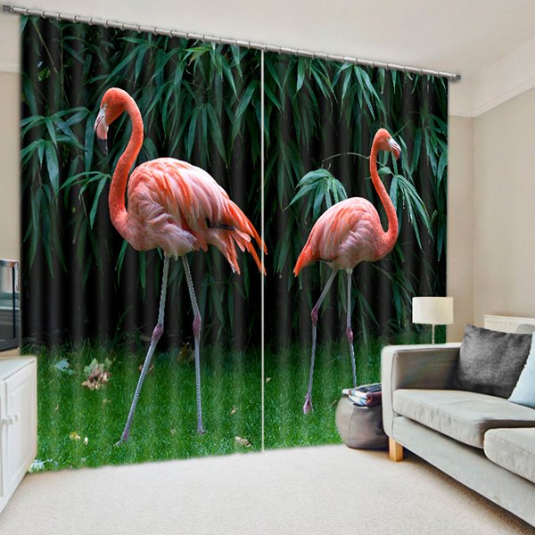 Two Flamingos Walking in the Woods Print 3D Blackout Curtain